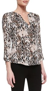 Joie Animal Print Silk Woven 3/4 Sleeve Top Brown Multi