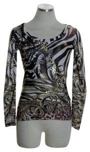 Cache Knit Long Sleeve Print Stretchy T Shirt Brown