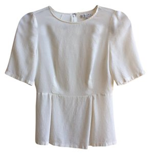Broadway & Broome Peplum Silk Work Top Cream
