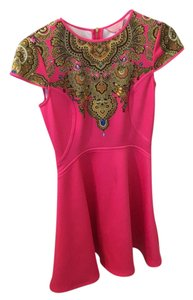 Ted Baker Jewel Neoprene Fuschia Hot Mini Dress