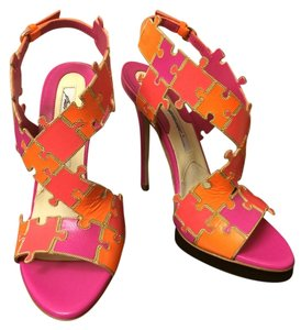 Brian Atwood Pump Designer Leather Pink Color-blocking Fuchsia/Orange/Pink Sandals