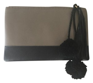 Other Pompom Taupe/black Clutch