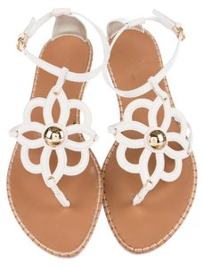 Louis Vuitton Leather Gold Hardware Ankle Strap Lv Monogram Gladiator White, Gold Sandals