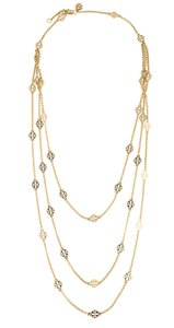 Tory Burch Gold-tone Tory Burch multistrand Reva logo necklace