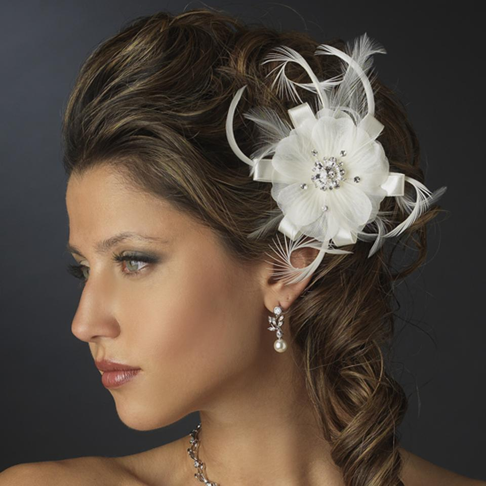 Elegance By Carbonneau White Rhinestone Feather Ribbon Brooch Pin With Fascinator Clip 2531 Hair Accessory