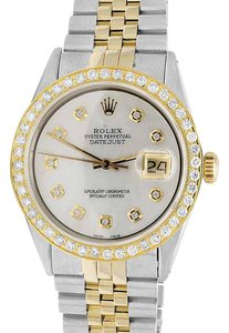 Rolex Rolex 18K/ Steel Datejust Two Tone MOP 36MM 16014 Diamond Watch 3.0 Ct