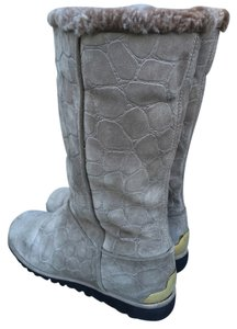 Stuart Weitzman Uggs Suede Mock Croc Croc Croc Embossed Brass Shearling Faux Shearling Calf Length Mid Calf Grey Boots