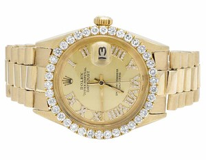 Rolex Mens Rolex 18K Yellow Gold Presidential Datejust Diamond Watch 3.0 Ct