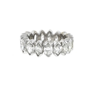 18k White Gold Marquise Diamonds Ladies Eternity Band Ring