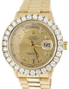 Rolex Mens Rolex President 18K Yellow Gold Day-Date 18038 Diamond Watch 5Ct