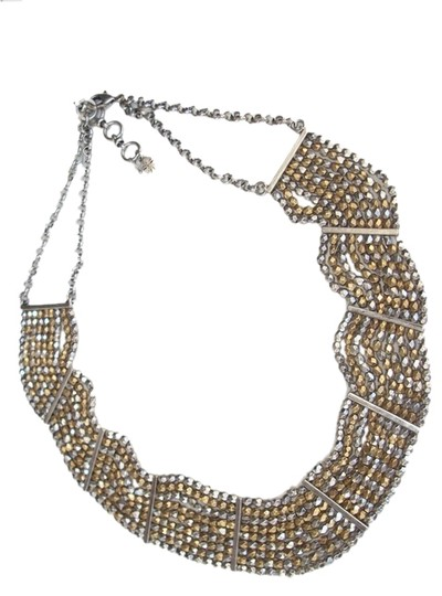 Lucky Brand Lucky Brand Lotus Two Tone Beaded Nugget Beads Collar Necklace JLRU9887