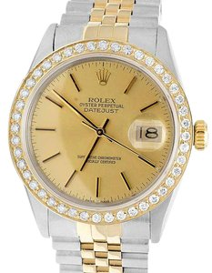 Rolex Rolex 18K/ Steel Datejust Two Tone 36MM 16014 Diamond Watch 3.0 Ct