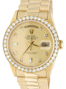 Rolex Mens Rolex President 18K Yellow Gold Day-Date 36MM Diamond Watch 3 Ct