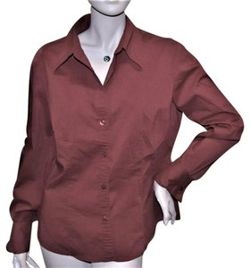 New York & Company Longsleeve Button Down Shirt RED