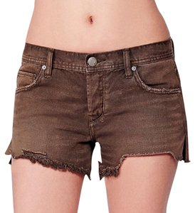 Free People Cut Off Shorts olive green / brown