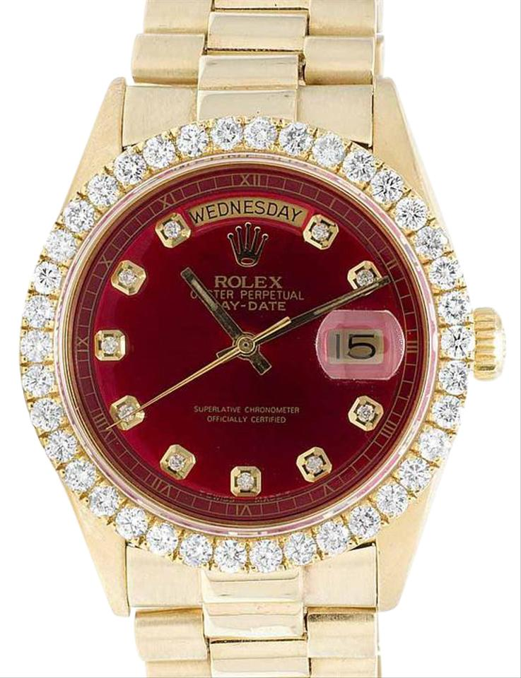 Rolex Yellow Gold Red Mens President 18k Day Date 36mm Diamond Ct Watch