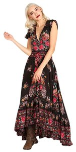 Black, Pink Maxi Dress by Free People Asymmetrical Skirt Spell Gypsy Rare Sold Out