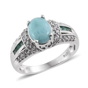 Other Larimar, Kagem Zambian Emerald, Platinum Over Sterling Silver