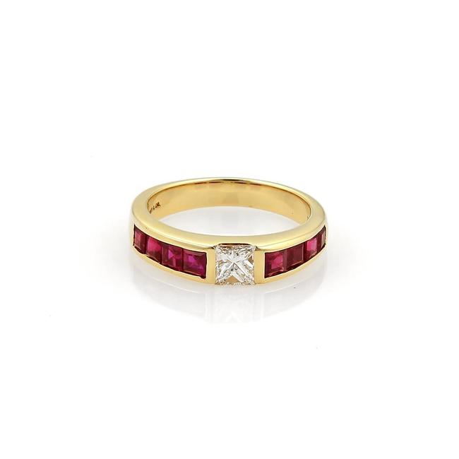 Item - Yellow Gold Red 1.15ct Diamond Ruby Solitaire Stack Size 4.5 Ring
