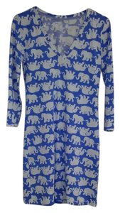 Lilly Pulitzer short dress White/Blue Christie Elephant Print on Tradesy