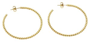 Tiffany & Co. Italy 18k Yellow Gold Large Classic Cable Wire Hoop Earrings