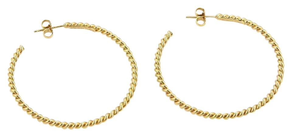 Tiffany Co Yellow Gold Italy Large Clic Cable Wire Hoop Earrings Necklace