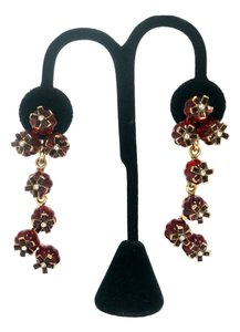 Oscar de la Renta Red Resin Crystal Floral Drop Earrings