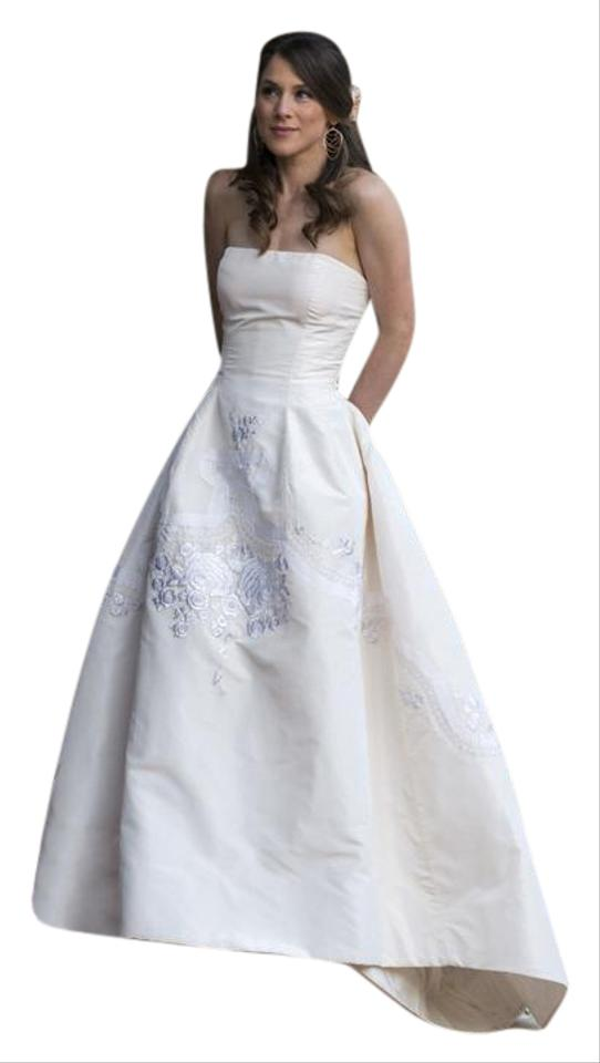 Oscar De La A Ivory Satin Vintage Wedding Dress Size 6 S