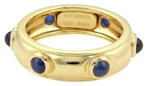 Tiffany & Co. Cabochon Sapphire 18k Yellow Gold Eternity Band Ring Size 6.5