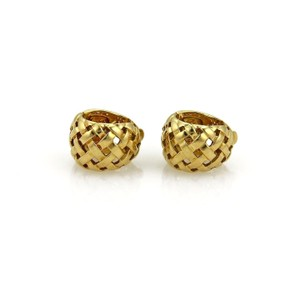 Tiffany & Co. Vannerie 18K Yellow Gold Open Basket Weave Small Huggie Earrings
