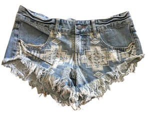 Billabong Denim Coachella Festival Cut Off Shorts Light Wash
