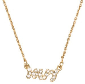 Kate Spade NWT Say Yes Mrs Pave Crystal Gold Pendant Necklace
