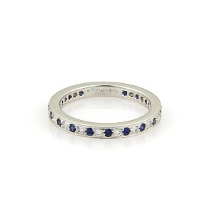 Tiffany & Co. Sapphire Platinum Milgrain Eternity Band Ring Size 3.75