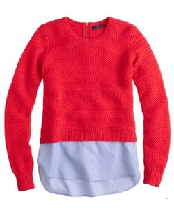 J.Crew Jenna Lyons Preppy Red Chambray Sweater