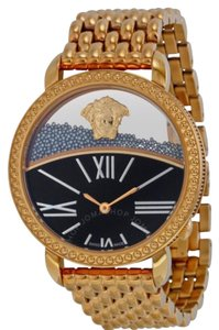 Versace VERSACE Krios 93Q Black Enamel and Transparent Dial Rose Gold-plated Ladies Watch