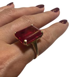 Other 14k YG Large Synthetic Emerald Cut Ruby Retro Cocktail Ring Size 8.25