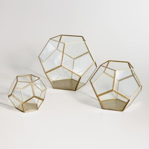 Set Of 6 Gold And Brass Terrariums