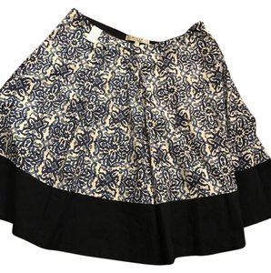 MILLY Silk Pleated Floral Skirt Navy Blue - Multi