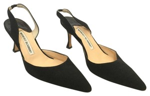 Manolo Blahnik Canvas Kitten Pointed Toe Slingback Black Pumps