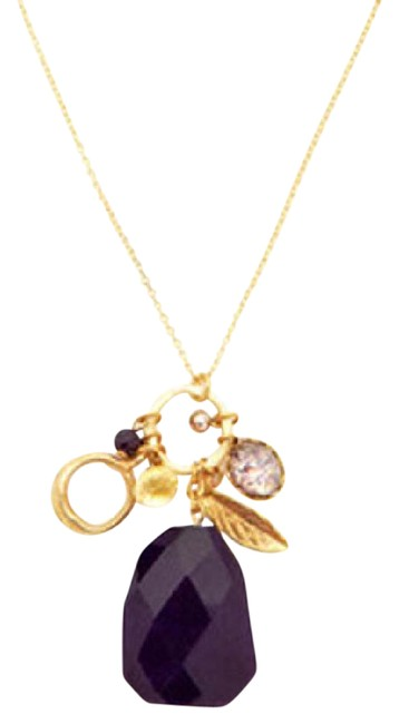 Item - Purple Amber and Gold Charm Necklace