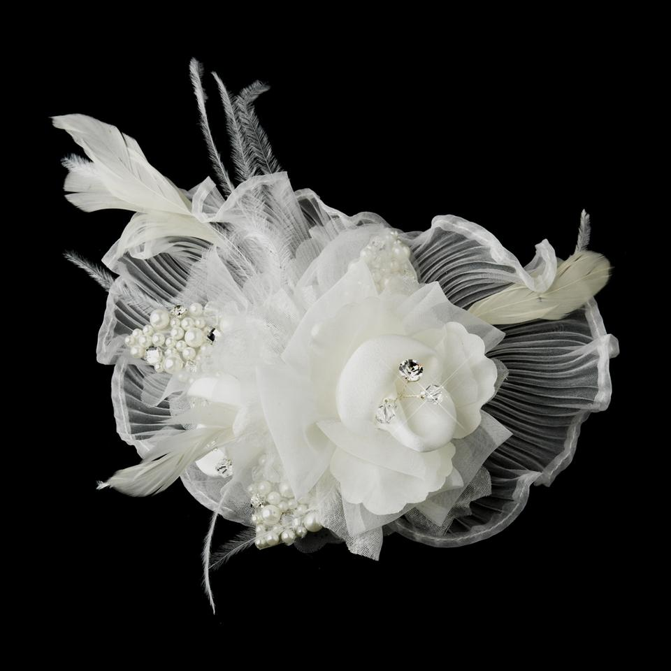 Elegance By Carbonneau White Flower Feather Fascinator Clip Or