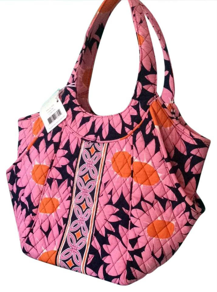 226bcc0ca996 Vera Bradley Side By Side Loves Me... 11264-055 (Retired) Pink Navy Blue  White Orange Quilted Fabric Hobo Bag