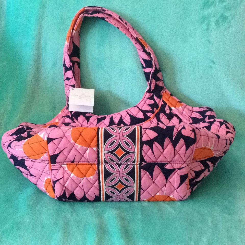 ad09dd4e0b57 Vera Bradley Side By Side Loves Me... 11264-055 (Retired) Pink Navy Blue  White Orange Quilted Fabric Hobo Bag - Tradesy