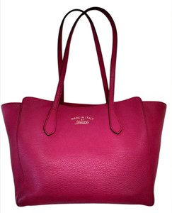 Gucci Pebbled Leather Tote in Fuschia/ hot pink