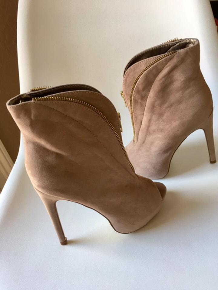 buy cheap really cheap various kinds of Liliana Beige New - Open Toe Suede Stiletto Ankle with Front Zipper Detail  Boots/Booties Size US 7 Regular (M, B)