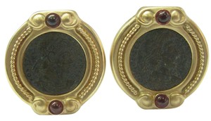 Other Fine Ancient Coins Garnet Yellow Gold Clip-On Earrings 14KT