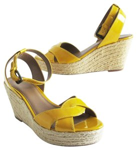 Elie Tahari Patent Leather Ankle Strap Jute Espadrille Yellow Wedges