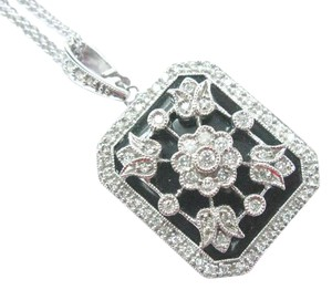 Other Fine Onyx Diamond Milgrain Flower Locket Pendant Necklace White Gold .