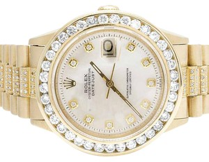 Rolex Mens Rolex 18K Yellow Gold Presidential Datejust Diamond Watch 7.5 Ct