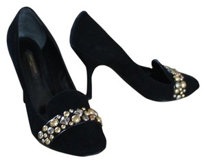 Louis Vuitton Suede Leather Round Toe Monogram Gold Hardware Lv Logo Charm Embellished Black Pumps